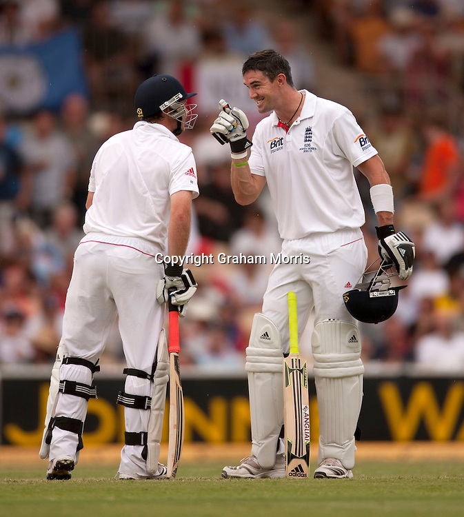 Kevin Pietersen (right), with Ian Bell) during his double century in the second Ashes Test Match between Australia and England at the Adelaide Oval. Photo: Graham Morris (Tel: +44(0)20 8969 4192 Email: sales@cricketpix.com) 5/12/10