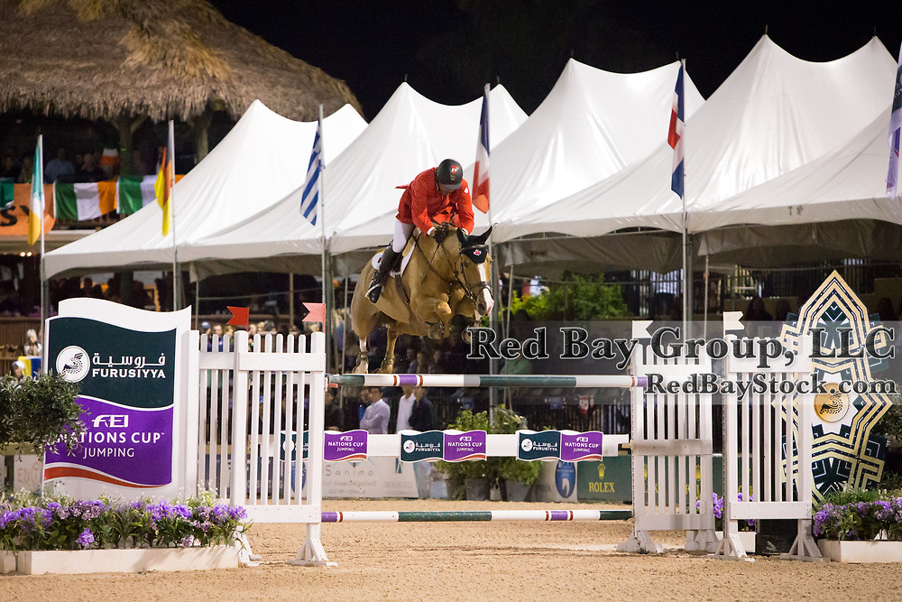 Yann Candele (CAN) and Showgirl at the 2014 Furusiyya FEI Nations Cup held during the Winter Equestrian Festival in Wellington, Florida.