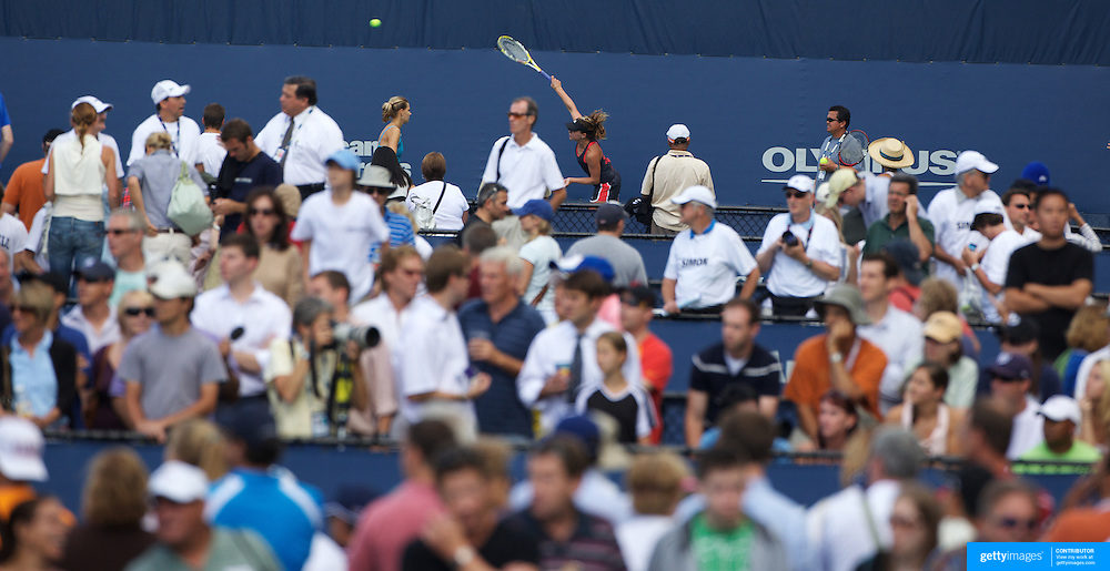 Large crowds watching the first day of action at the US Open Tennis Tournament at Flushing Meadows, New York, USA, on Monday, August 31, 2009. Photo Tim Clayton.