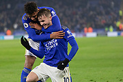 GOAL James Maddison (10) is congratulated by Ricardo Pereira (21) during the Premier League match between Leicester City and Watford at the King Power Stadium, Leicester, England on 4 December 2019.
