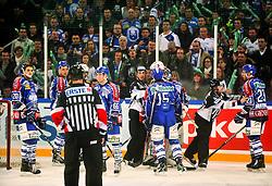 13.01.2012, Arena Zagreb, CRO, EBEL, Medvescak KHL Zagreb vs EC KAC, im Bild Spielszene (weil der kroatische Fotograf die Namen nicht hineinschreiben kann/will) // during the ice-hockey match of EBEL League between KHL Medvescak Zagreb and EC KAC, at Arena Zagreb, Zagreb, Croatia on 2011/01/13. EXPA Pictures © 2012, PhotoCredit: EXPA/ nph/ Pixsell/ Marko Lukunic..***** ATTENTION - OUT OF GER, CRO *****