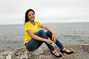 Brazillian  Patricia Debaula celebrating Brazil day on the prom in Salthill GAlway before the arrival of The Volvo Ocean race competitors . picture :Andrew Downes.