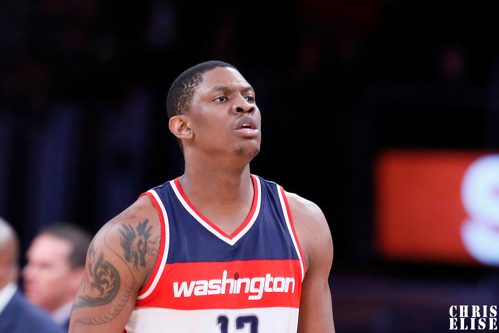 27 January 2015: Washington Wizards center Kevin Seraphin (13) is seen during the Washington Wizards 98-92 victory over the Los Angeles Lakers, at the Staples Center, Los Angeles, California, USA.