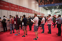 visitors queue for the Cycling Show at The Excel Centre which opened today which is part of the Prudential RideLondon Festival in London 27th July 2017<br /> <br /> Photo: Jed Leicester/Silverhub for Prudential RideLondon<br /> <br /> Prudential RideLondon is the world's greatest festival of cycling, involving 100,000+ cyclists – from Olympic champions to a free family fun ride - riding in events over closed roads in London and Surrey over the weekend of 28th to 30th July 2017. <br /> <br /> See www.PrudentialRideLondon.co.uk for more.<br /> <br /> For further information: media@londonmarathonevents.co.uk