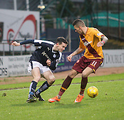 Dundee&rsquo;s Paul McGinn takes on Motherwell&rsquo;s Marvin Johnson - Dundee v Motherwell, Ladbrokes Premiership at Dens Park <br /> <br />  - &copy; David Young - www.davidyoungphoto.co.uk - email: davidyoungphoto@gmail.com