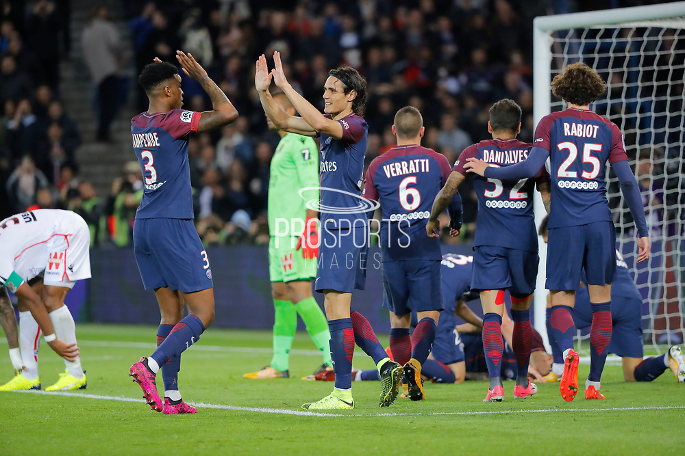 Edinson Roberto Paulo Cavani Gomez (psg) (El Matador) (El Botija) (Florestan) and Presnel Kimpembe (PSG) celebrated the goal scored by Daniel Alves da Silva (PSG), Marco Verratti (psg), Daniel Alves da Silva (PSG), Adrien Rabiot (psg) during the French Championship Ligue 1 football match between Paris Saint-Germain and OGC Nice on October 27, 2017 at Parc des Princes stadium in Paris, France - Photo Stephane Allaman / ProSportsImages / DPPI
