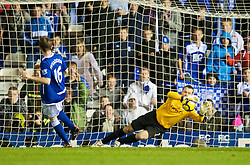 BIRMINGHAM, ENGLAND - Sunday, November 1, 2009: Manchester City's goalkeeper Shay Given saves a penalty from Birmingham City's James McFadden during the Premiership match at St Andrews. (Pic by David Rawcliffe/Propaganda)