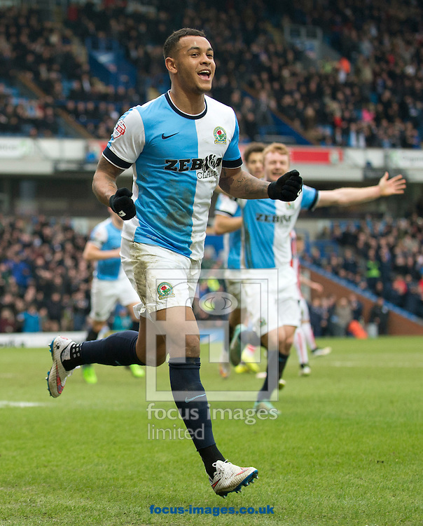 Josh King of Blackburn Rovers celebrates after scoring his team's 1st goal to make it 1-1 the FA Cup match at Ewood Park, Blackburn<br /> Picture by Russell Hart/Focus Images Ltd 07791 688 420<br /> 14/02/2015