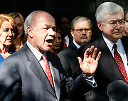 Former Enron chairman Kenneth Lay (L) comments outside of the Bob Casey U.S. Courthouse with his attorney Mike Ramsey (R) following proceedings in his fraud and conspiracy trial, May 16, 2006, in Houston. The defense presented it's closing arguments in the trial that has spanned 16 weeks. (Photo by Dave Einsel)