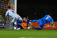 Mark Tyler of Luton Town (right) is beaten to the ball as Danny Rose of Bury (left) scores the opening goal during the Sky Bet League 2 match at Kenilworth Road, Luton<br /> Picture by David Horn/Focus Images Ltd +44 7545 970036<br /> 19/08/2014