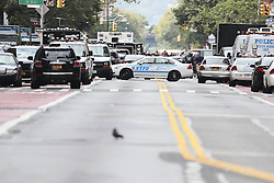 NEW YORK, Sept. 18, 2016 (Xinhua) -- New York Police Department vehicles are seen near the blast site in New York, U.S., Sept. 18, 2016. All 29 people wounded in Saturday's blast in New York City were released from hospitals, Mayor Bill de Blasio said Sunday at a news conference on the explosion. (Xinhua/Wang Ying) (Credit Image: © Wang Ying/Xinhua via ZUMA Wire)