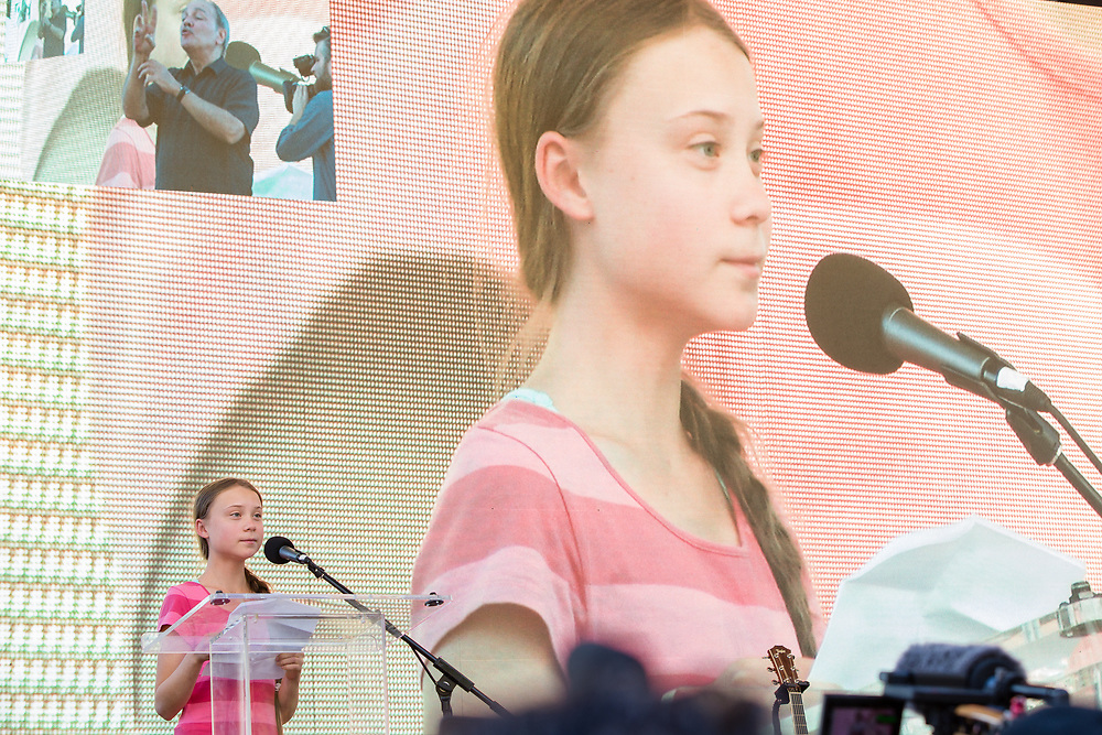 20 September 2019 - New York, NY.  Thousands of students as well as adults gathered in New York for the Global Climate Strike, meeting in Foley Square near the Federal Government buildings and New York's City Hall, and marching downtown to Battery Park. Swedish climate activist and spokesperson Greta Thunberg addresses the crowd.