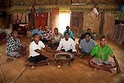 Men of Navala Village gathered in bure to drink kava; Viti Levu Island, Fiji.