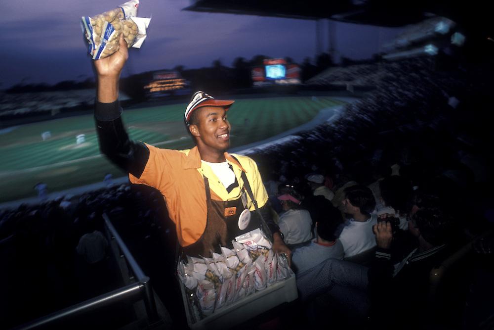 USA, Maryland, Baltimore, Vendor selling peanuts during Baltimore Orioles baseball game at Memorial Stadium