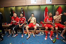 CARDIFF, WALES - Tuesday, October 13, 2015: Wales' David Cotterill, Ashley 'Jazz' Richards, Ben Davies, captain Ashley Williams, Andy King celebrate in the dressing room after the 2-0 victory over Andorra, and qualification for the finals, following the UEFA Euro 2016 qualifying Group B match at the Cardiff City Stadium. (Pic by David Rawcliffe/Propaganda)