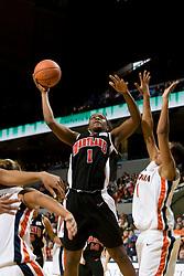 Maryland forward/center Crystal Langhorne (1) shoots against Virginia.  The Virginia Cavaliers women's basketball team faced the #4 ranked Maryland Terrapins at the John Paul Jones Arena in Charlottesville, VA on January 18, 2008.