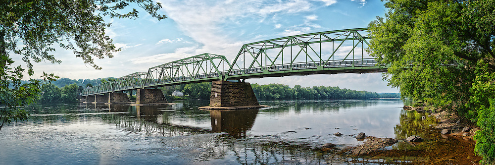 Stitched Panorama of the Frenchtown bridge spanning the Delaware River.