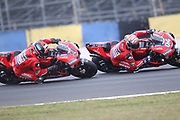 #4 Andrea Dovizioso, Italian: Mission Winnow Ducati Team racing close to team mate #9 Danilo Petrucci, Italian: Mission Winnow Ducati Team during racing on the Bugatti Circuit at Le Mans, Le Mans, France on 19 May 2019.