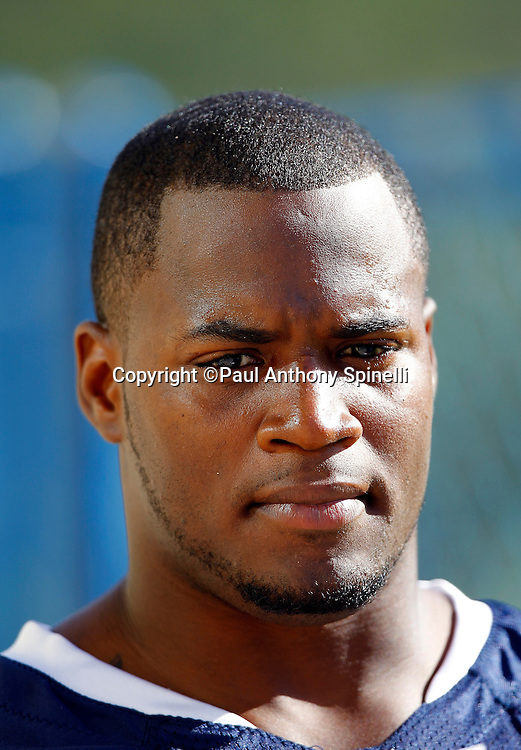 San Diego Chargers rookie linebacker Kion Wilson (42) talks to the media after a Chargers rookie minicamp on May 7, 2010 in San Diego, California. (©Paul Anthony Spinelli)