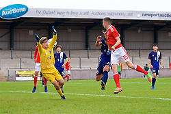 NEWPORT, WALES - Sunday, September 24, 2017: Wales' Callum King-Harmes scores the fourth goal during an Under-16 International friendly match between Wales and Gibraltar at the Newport Stadium. (Pic by David Rawcliffe/Propaganda)