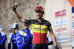 March 18, 2017 - San Remo, Italie - SANREMO, ITALY - MARCH 18 : GILBERT Philippe (BEL) Rider of Quick-Step Floors Cycling team greeting the supporters during the UCI WorldTour 108th Milan - Sanremo cycling race with start in Milan and finish at the Via Roma in Sanremo on March 18, 2017 in Sanremo, Italy, 18/03/2017  (Credit Image: © Panoramic via ZUMA Press)