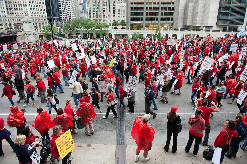 The Chicago Teachers Union and allies rally at The Hyatt on September 13, 2012.