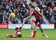 Picture by Tom Smith/Focus Images Ltd 07545141164<br /> 26/12/2013<br /> Harry Arter (right) of Bournemouth takes a shot during the Sky Bet Championship match at the Goldsands Stadium, Bournemouth.