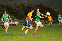 Ciar&aacute;n &Oacute;'Ba&iacute;oll&aacute;in in action for Achill against Knockmore in the Mayo junior championship match.<br />Pic Conor McKeown
