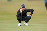 Tommy Fleetwood lines up a putt on the 16th during the final round of the Alfred Dunhill Links Championships 2018 at West Sands, St Andrews, Scotland on 7 October 2018