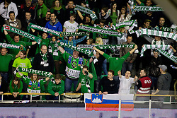 Fans during ice-hockey match between HDD Tilia Olimpija and EHC Liwest Black Wings Linz at second match in Semifinal  of EBEL league, on March 8, 2012 at Hala Tivoli, Ljubljana, Slovenia. (Photo By Matic Klansek Velej / Sportida)