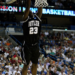 Mar 24, 2011; New Orleans, LA; Butler Bulldogs forward Khyle Marshall (23) dunks against the Wisconsin Badgers during the first half of the semifinals of the southeast regional of the 2011 NCAA men's basketball tournament at New Orleans Arena.  Mandatory Credit: Derick E. Hingle