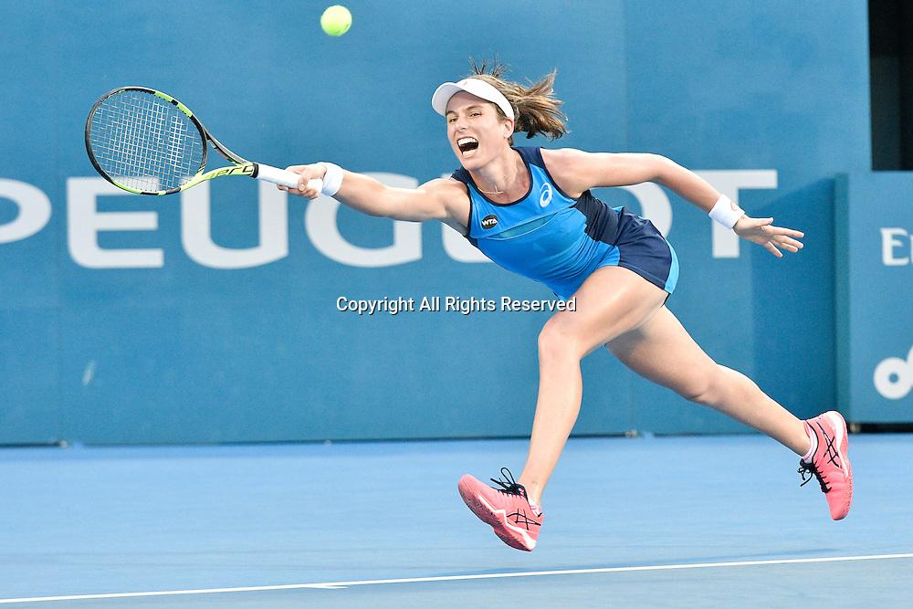 13.01.17 Sydney Olympic Park, Sydney, Australia.  Johanna Konta (GBR) in action against  Agnieszka Radwanska (POL) during their womens final match on day 6 at the Apia International Sydney. Konta won 6-4,6-2.