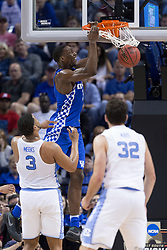 Kentucky forward Edrice Adebayo dunks the ball in the second half. North Carolina won 75-73.<br /> <br /> The University of Kentucky hosted the University of North Carolina in a 2017 NCAA D1 Men's South Regional Championship, Sunday, March 26, 2017 at FedExForum in Memphis.