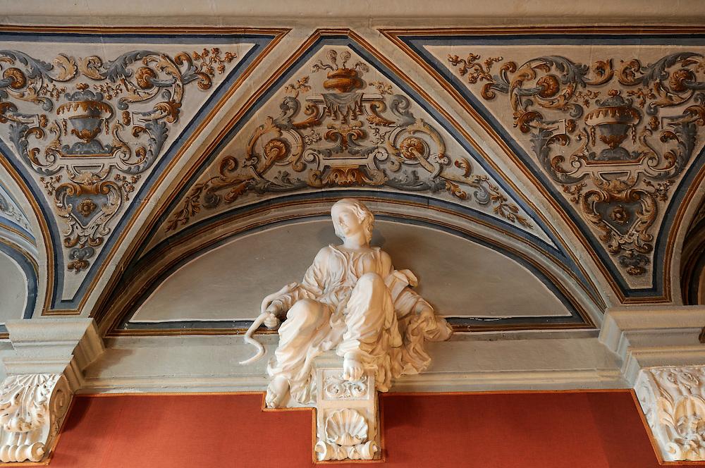 France, Languedoc Roussillon, Gard (30), Uzège, Uzès, Hôtel de Rosier, la salle des vertus