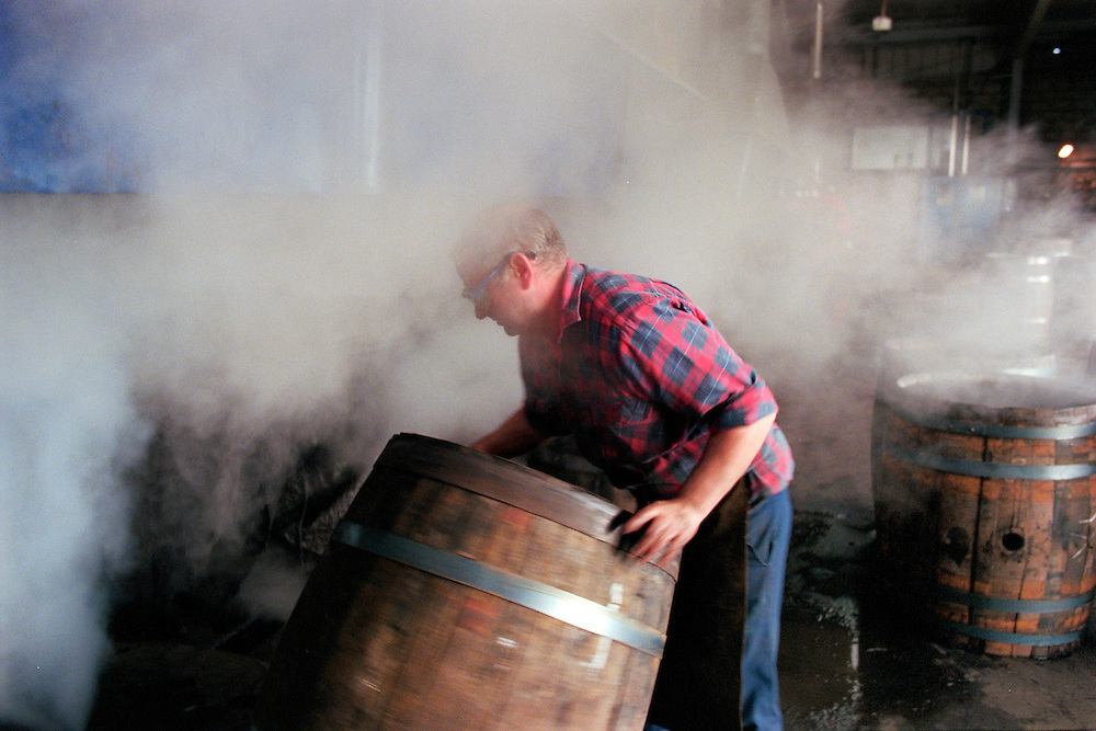 Steaming casks at the Speyside Cooperage, Scotland.