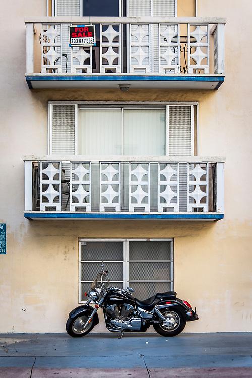 Miami Modern style masonry balconies in Miami Beach.
