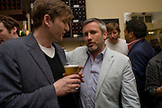 PHIL ALLEN AND JAKE MILLER, Exhibition of New sculptures by Gary webb incorporating man-made and natural objects. The Approach, Mortimer St. London. 15 May 2008. Afterwards at Mark Hix's restaurant. Smithfield.  *** Local Caption *** -DO NOT ARCHIVE-© Copyright Photograph by Dafydd Jones. 248 Clapham Rd. London SW9 0PZ. Tel 0207 820 0771. www.dafjones.com.