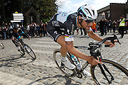 France April 13th 2014: Omega Pharma Quickstep's Tom Boonen leads Team Sky's Bradley Wiggins through Gruson on the way to the finish in Roubaix Velodrome. Copyright 2014 Peter Horrell