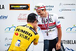 Primoz Roglic and Jan Polanc during ceremony of Slovenian Road Cycling Championship in time trial 2020 on June 28, 2020 in Zg. Gorje - Pokljuka, Slovenia. Photo by Peter Podobnik / Sportida.