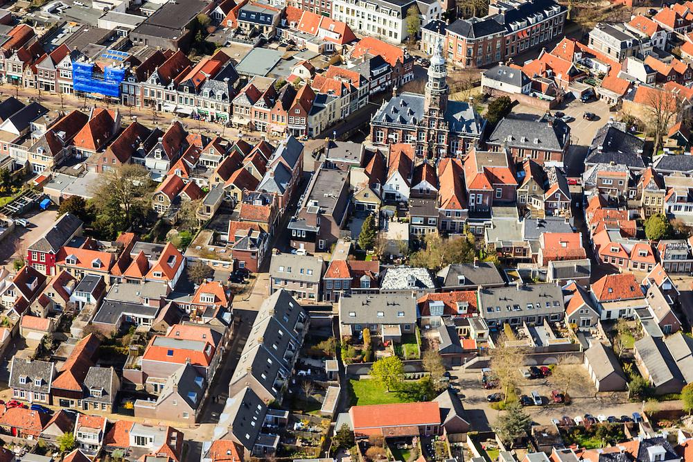 Nederland, Friesland, Gemeente Sudwest-Fryslan, 16-04-2012; Bolsward (Boalsert), centrum met Stadhuis. .Frisian city of Bolsward..luchtfoto (toeslag), aerial photo (additional fee required).foto/photo Siebe Swart
