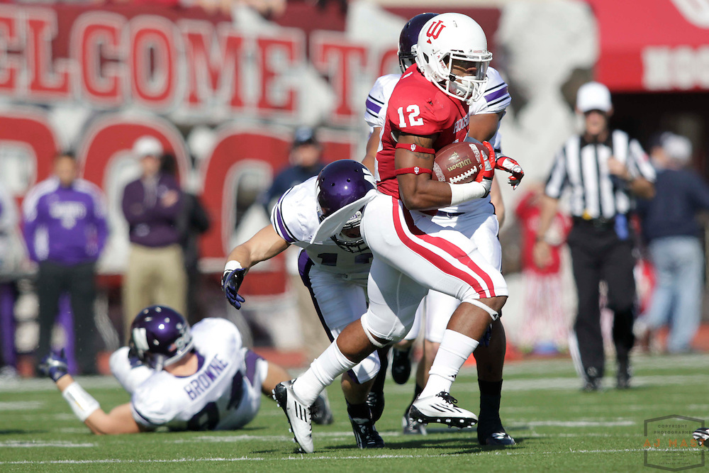 29 October 2011: Indiana Hoosiers running back Stephen Houston (12) as the Northwestern Wildcats played the Indiana Hoosiers in a college football game in Bloomington, Ind.