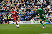 Kike during the Sky Bet Championship match between Preston North End and Middlesbrough at Deepdale, Preston, England on 9 August 2015. Photo by Simon Davies.