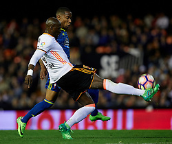 April 6, 2017 - Valencia, Valencia, Spain - Eliaquim Mangala (L) of Valencia CF competes for the ball with Claudio Beauvue of Real Club Celta de Vigo during the La Liga match between Valencia CF and Real Club Celta de Vigo at Mestalla Stadium on April 6, 2017 in Valencia, Spain. (Credit Image: © David Aliaga/NurPhoto via ZUMA Press)