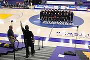 03/20/2014- Stevens Point, Wisc. - The women's basketball team gets lined up for the team photo at the Quandt Fieldhouse for the NCAA Division III Women's Final Four on Mar. 20, 2014. (Kelvin Ma/Tufts University)