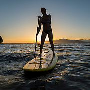 Tina Marr, paddleboard guide, at Spanish Banks.