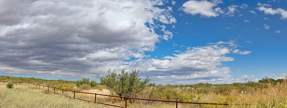 Panoramic picture taken near the Hereford Bridge in Arizona with a beautiful dynamic sky.