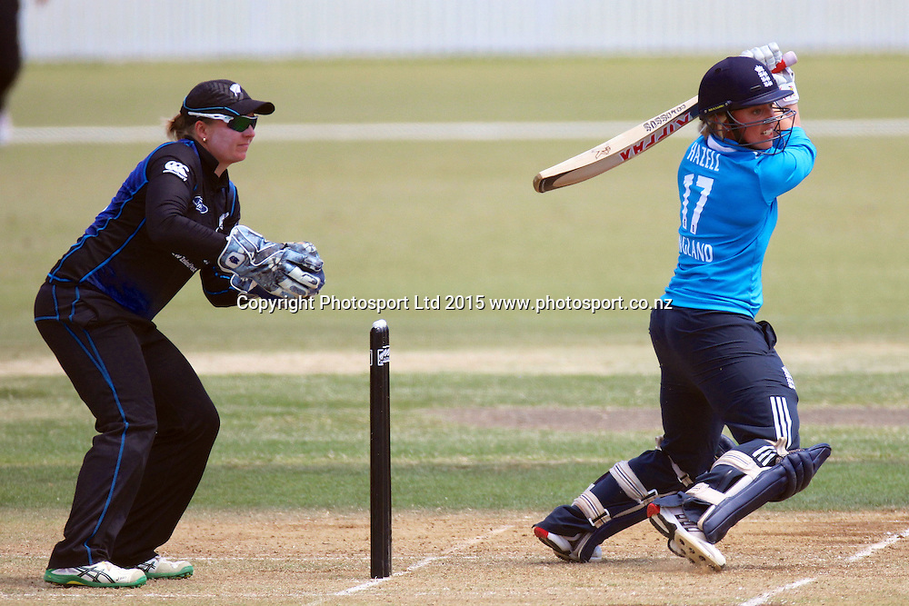Danielle Hazell batting, 2nd Womens One Day International , New Zealand White Ferns v England at Mount Maunganui, New Zealand. 13 February 2015. Photo credit: Margot Butcher / www.photosport.co.nz