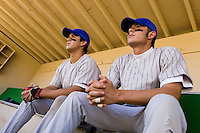 Baseball Players in Dugout Watching Game