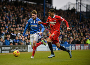 Portsmouth defender Kieron Freeman and Leyton Orient Defender Frazer Shaw during the Sky Bet League 2 match between Portsmouth and Leyton Orient at Fratton Park, Portsmouth, England on 6 February 2016. Photo by Adam Rivers.