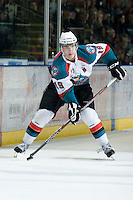 KELOWNA, CANADA, JANUARY 25: Brett Bulmer #19 of the Kelowna Rockets skates with the puck as the Kamloops Blazers visit the Kelowna Rockets on January 25, 2012 at Prospera Place in Kelowna, British Columbia, Canada (Photo by Marissa Baecker/Getty Images) *** Local Caption ***
